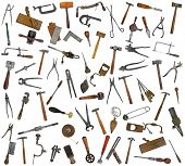 vintage collectible tools mix collage over white background