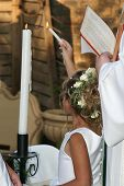 picture of unity candle  - flower girl ligting the unity candles - JPG