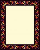 stock photo of scrollwork  - Renaissance color border with scrollwork and fleur de lis accents - JPG