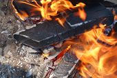 image of brazier  - the big Burning woods in a brazier