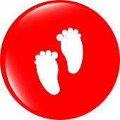 image of webbed feet white  - footprint circle glossy web icon on white background - JPG