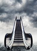 stock photo of stairway to heaven  - Escalators conceptual image - JPG