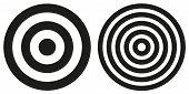 image of bullseye  - Set of 2 isolated simple black and white bullseye targets - JPG