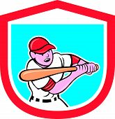 image of hitter  - Illustration of a baseball player batter hitter batting with bat done in cartoon style set inside shield crest on isolated background - JPG