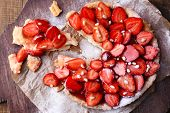 foto of tarts  - Strawberry tart on wooden tray - JPG