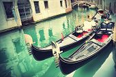 picture of gondola  - Gondolas in Venice - JPG