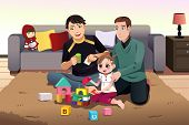 Постер, плакат: Young Gay Parents Playing With Their Kid