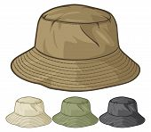 stock photo of bucket  - bucket hat collection vector illustration on white background - JPG
