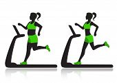 picture of treadmill  - Silhouette of a woman on a treadmill before and after she lost weight - JPG