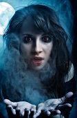 stock photo of pale skin  - Shot of Vampire Girl in the moonlight and mist - JPG