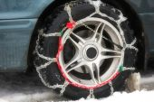 stock photo of snow-slide  - winter chains of anti - JPG