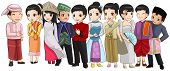 stock photo of southeast asian  - Group of Southeast Asia people with different race and culture in cute cartoon illustration design representing ASEAN organization  - JPG