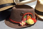 stock photo of panama hat  - Panama and Fedora hats with Kuna Ayala panamenian indian motives - JPG