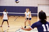 picture of netball  - High School Volleyball Match In Gymnasium - JPG