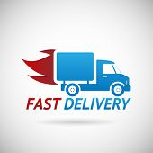 stock photo of car symbol  - Fast Delivery Symbol Shipping Silhouette Icon Design Template Vector Illustration - JPG