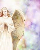 stock photo of guardian  - Traditional angel illustration on pastel bokeh background - JPG