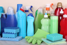 stock photo of disinfection  - Cleaning products on shelf - JPG