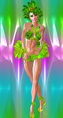 picture of headdress  - A carnival style dancer woman in green feathers and headdress dances in front of a colorful abstract background that matches her outfit - JPG
