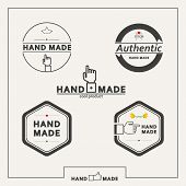 pic of handicrafts  - Set of five vector circle and hexagon emblems for marketing handicrafts - JPG