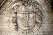 pic of medusa  - Head of medusa on an ancient wall Istanbul Turkey - JPG