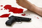 pic of gun shot wound  - concept shot of the crime scene of shooting - JPG