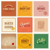 stock photo of food logo  - Vintage retro Labels Cafe Restaurant Bar Bakery Logo design vector templates - JPG