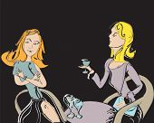 stock photo of chatterbox  - Two nicely dressed women talking and drinking hand drawn illustration - JPG