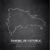 stock photo of greater antilles  - Dominican Republic map blackboard chalkboard vector template - JPG