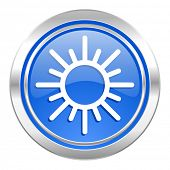 sun icon, blue button, waether forecast sign  poster
