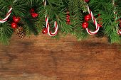 stock photo of pine-needle  - Christmas tree branches background - JPG