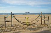 picture of costa blanca  - Leisure equipment on Benidorm beach Costa Blanca Spain - JPG