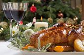 stock photo of kumquat  - Citrus glazed roasted duck stuffed with rice garnished with apples kumquats and sage - JPG