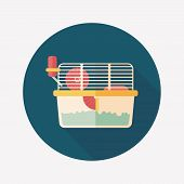 stock photo of gerbil  - Pet Mouse Cage Flat Icon With Long Shadow - JPG