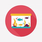 foto of long-fish  - Pet Fish Flat Icon With Long Shadow - JPG