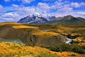 "pic of horseshoe  - ""Horseshoe"" Paine. Paine river bends in a horseshoe shape around the picturesque hills. Epic grand landscape in the national park Torres del Paine, Patagonia, Chile - JPG"