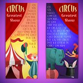 picture of juggler  - Circus greatest show vertical banner set with clown elephants juggler isolated vector illustration - JPG