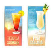 foto of pina-colada  - Tequila sunrise pina colada cocktails vertical banner set isolated vector illustration - JPG