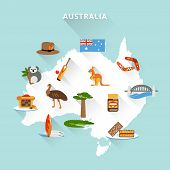 foto of boomerang  - Australia tourist map concept with travel food sport nature icons vector illustration - JPG