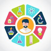 stock photo of scientist  - Chemistry flat concept with lab research equipment and scientist in the middle vector illustration - JPG