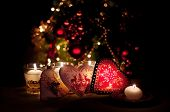 Постер, плакат: Hearts Decorations And Christmas Lights Merry Christmas