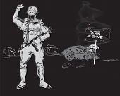 pic of precaution  - Soldier with a gun machine and tipped over burning car precaution War Zone hand drawn on black - JPG