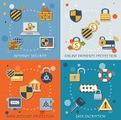 picture of internet-banking  - Security flat icons set with internet online payment protection bank account data encryption isolated vector illustration - JPG