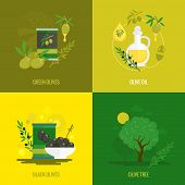 stock photo of olive trees  - Olives flat icon set with green black oil and tree set isolated vector illustration - JPG
