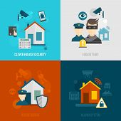 stock photo of social-security  - Home security flat icons set with clever house thief guard alarm system isolated vector illustration - JPG