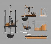 picture of  rig  - Oil and petroleum icon set - JPG