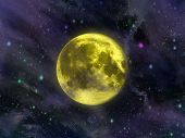 pic of moon stars  - moon against the night sky with clouds and stars - JPG