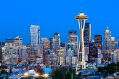 foto of washington skyline  - Downtown Seattle skyline at twilight - JPG