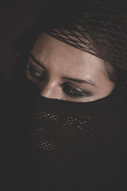 picture of burka  - woman in traditional Islamic veil - JPG
