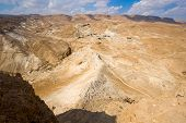 picture of masada  - The Roman siege ramp on the west side of Masada in Israel - JPG