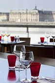 picture of bordeaux  - Dining room of a restaurant facing Bordeaux docks in France - JPG